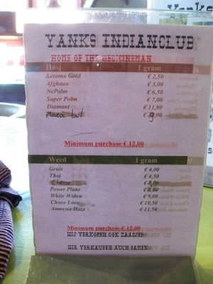 Menu coffeeshop
